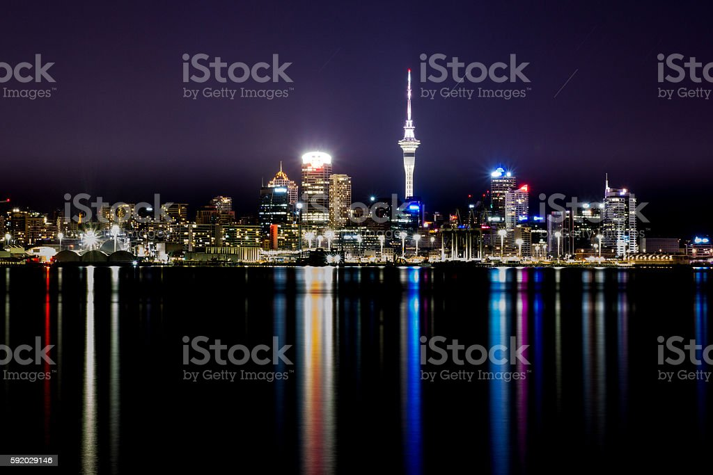 Skyline of Auckland at night stock photo