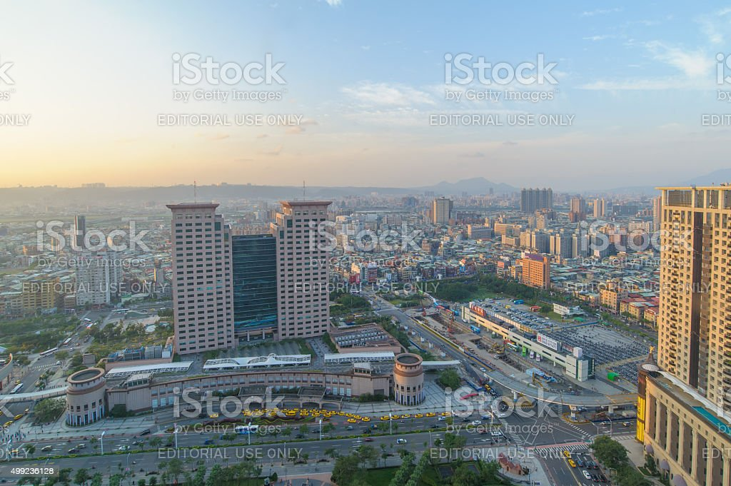 skyline of banciao city stock photo