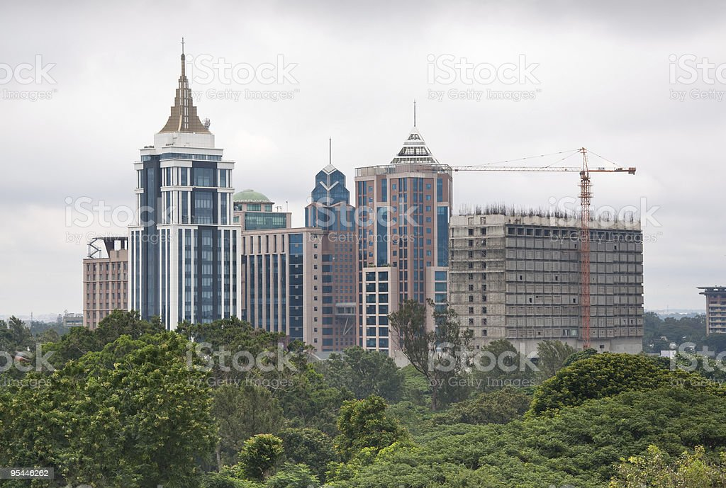 Skyline of Bangalore, India on overcast day stock photo