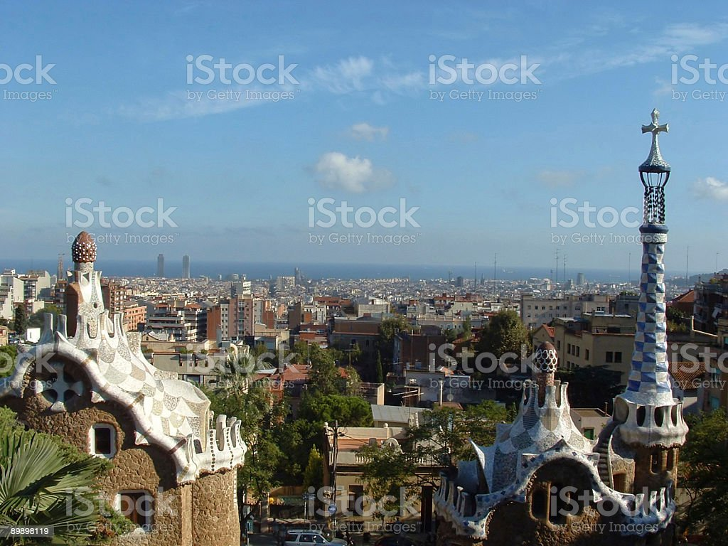 Skyline of Barcelona, seen from famous Park Güell royalty-free stock photo