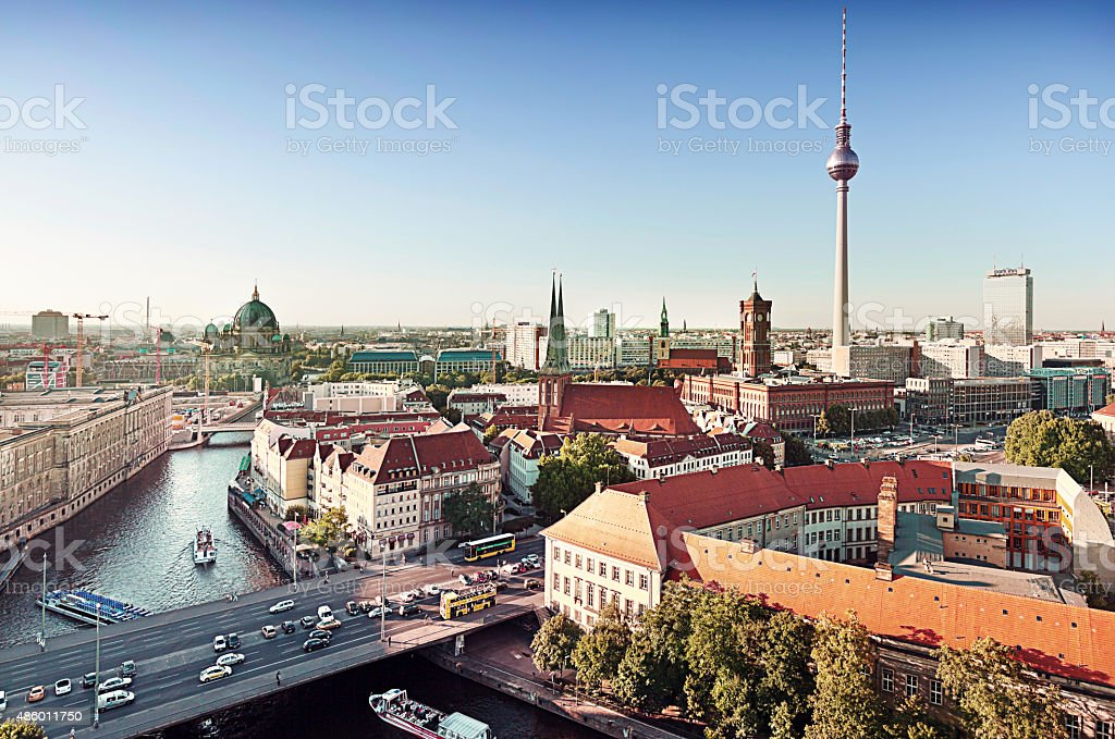 Skyline Of Berlin In Germany With TV Tower stock photo