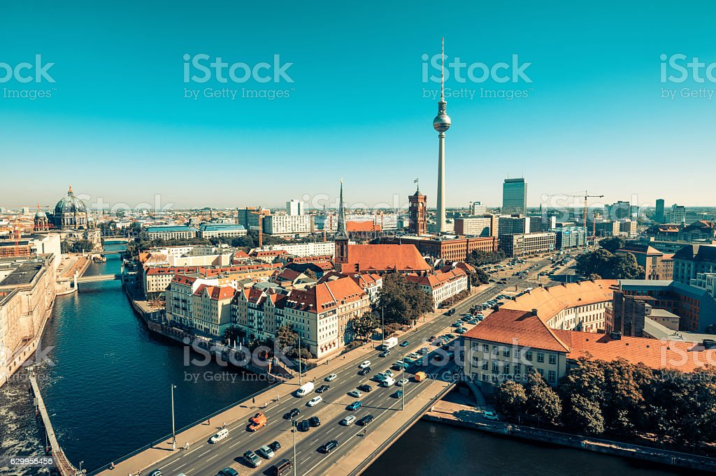 Skyline of Berlin (Germany) with TV Tower at dusk stock photo