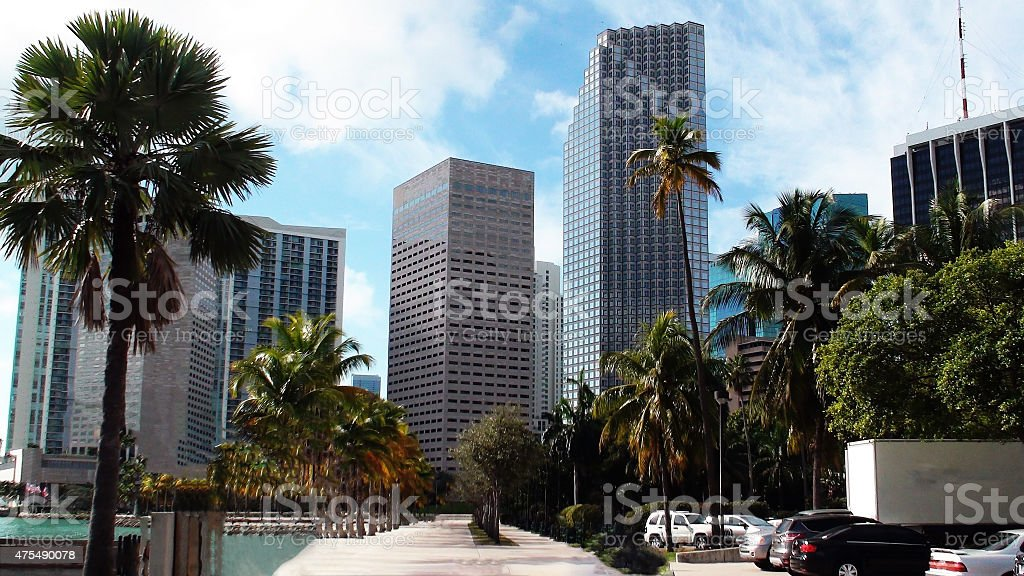 Skyline Of Biscayne Boulevard Miami Florida,USA stock photo