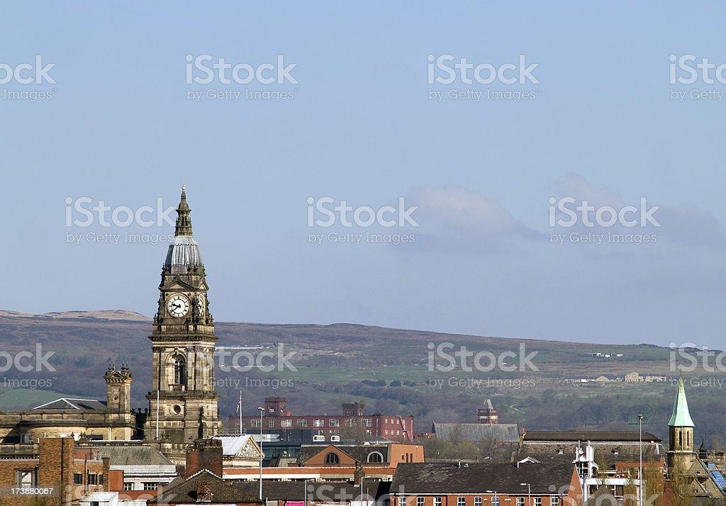 Skyline of Bolton, Lancashire  stock photo