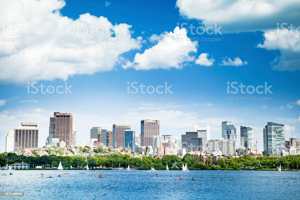Skyline of Boston, and Charles River royalty-free stock photo
