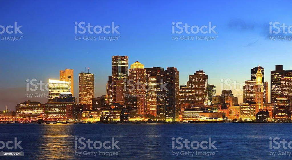 Skyline of Boston by night stock photo