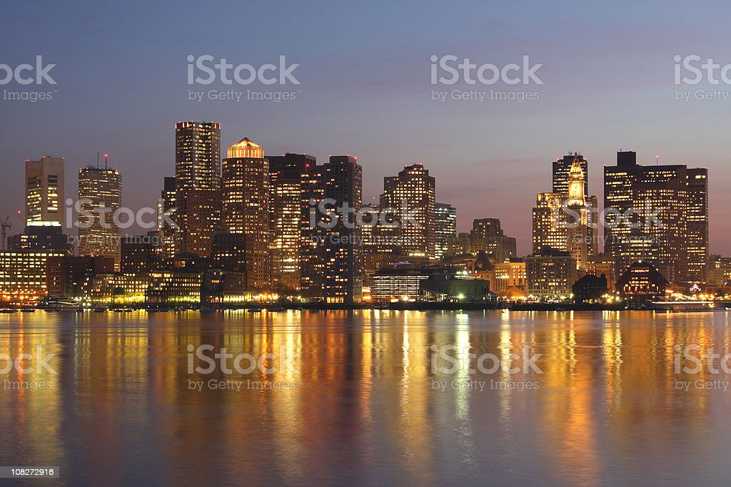 Skyline of Boston, Massachusetts at Dusk royalty-free stock photo