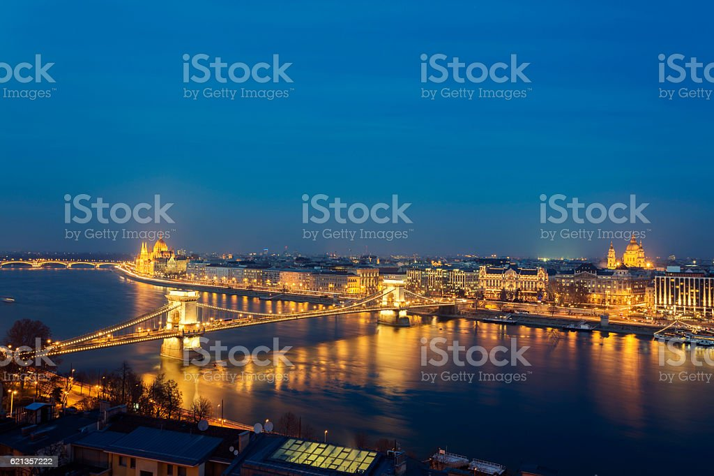 Skyline of Budapest with Chain Bridge and Parliament at dusk stock photo
