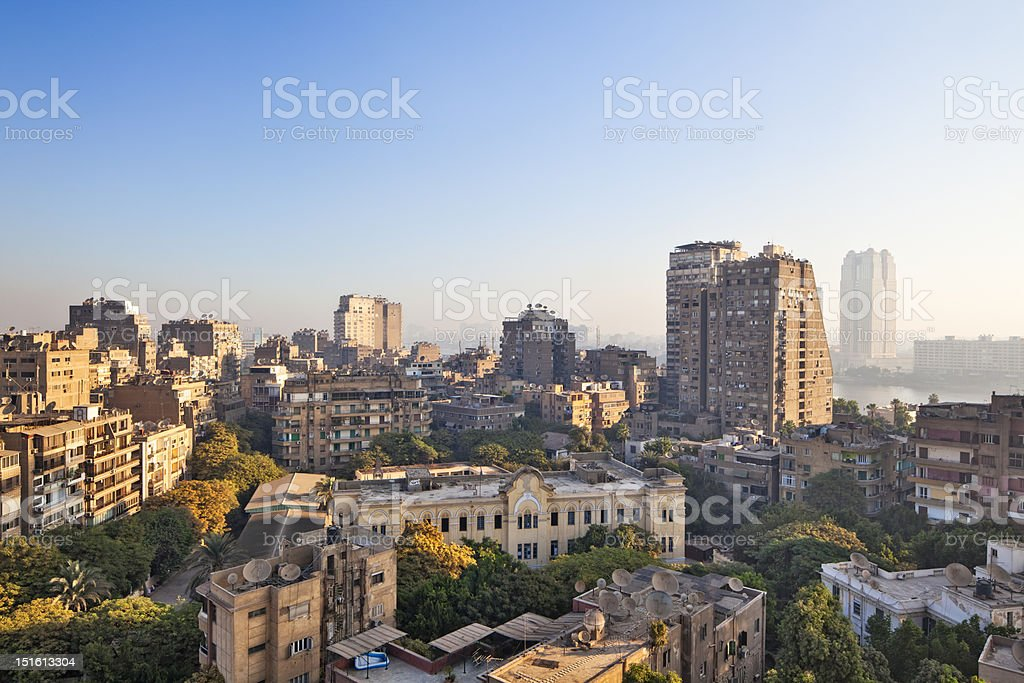 Skyline of Cairo - Zamalek district on Gezira Island stock photo