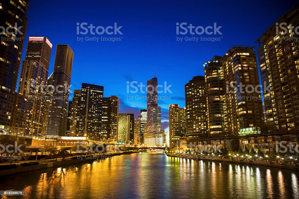 Skyline of Chicago along the river stock photo