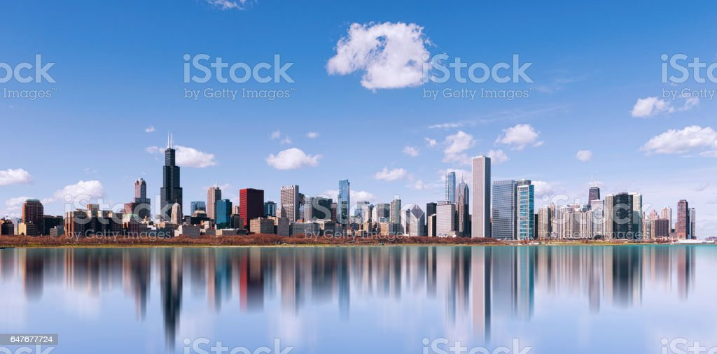 Skyline of Chicago city with reflection, illinois. USA't stock photo