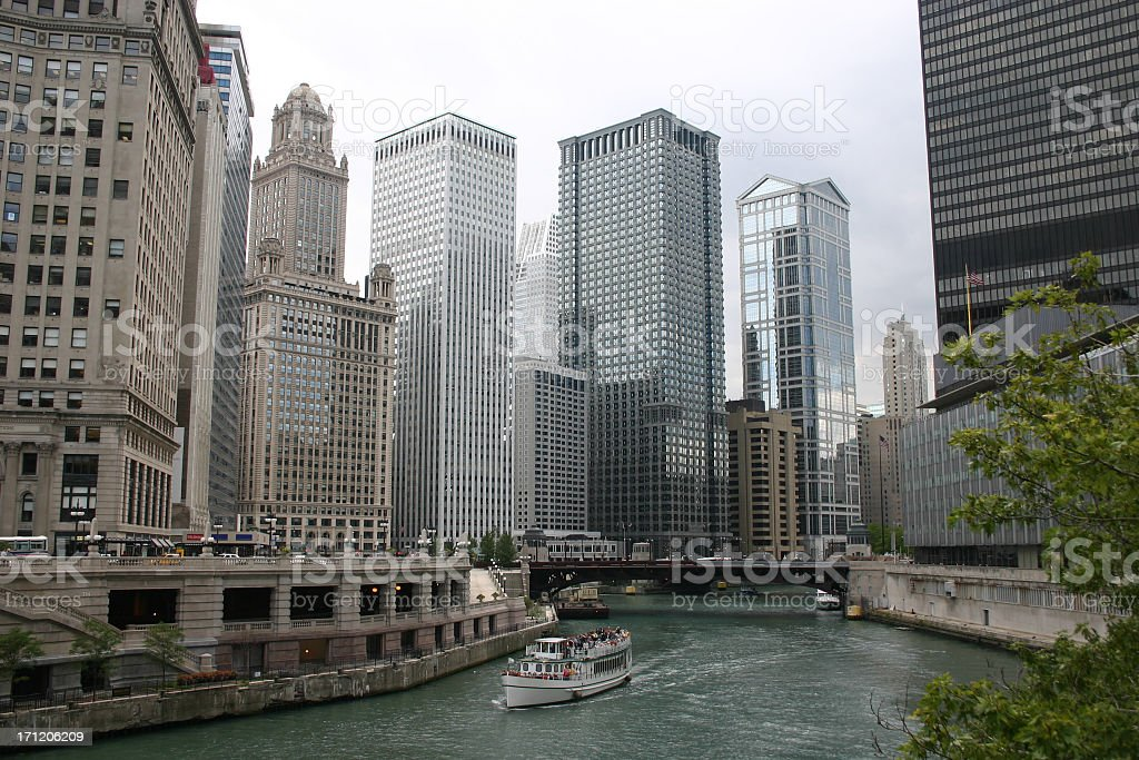 Skyline of Chicago's Downtown in Illinois stock photo
