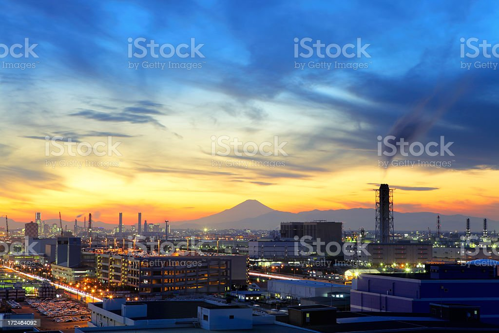 Skyline of city industry of Mt Fuji stock photo