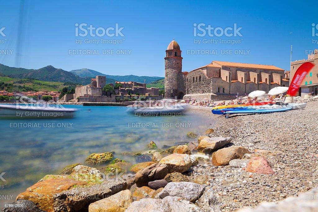 Skyline of Collioure, France stock photo