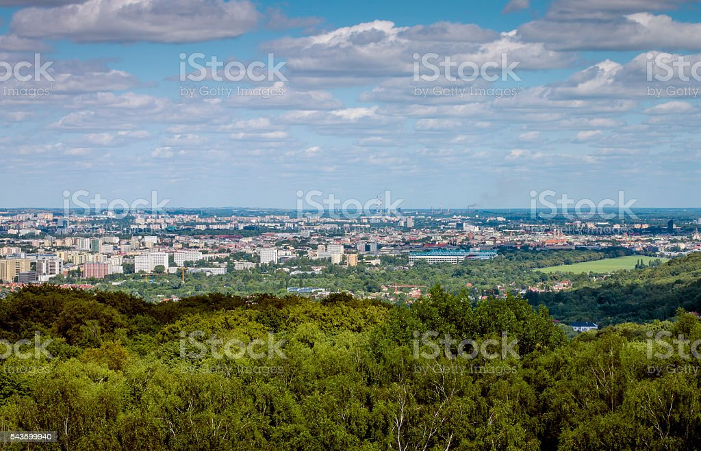 Skyline of Cracow and Wolski forest, Poland stock photo