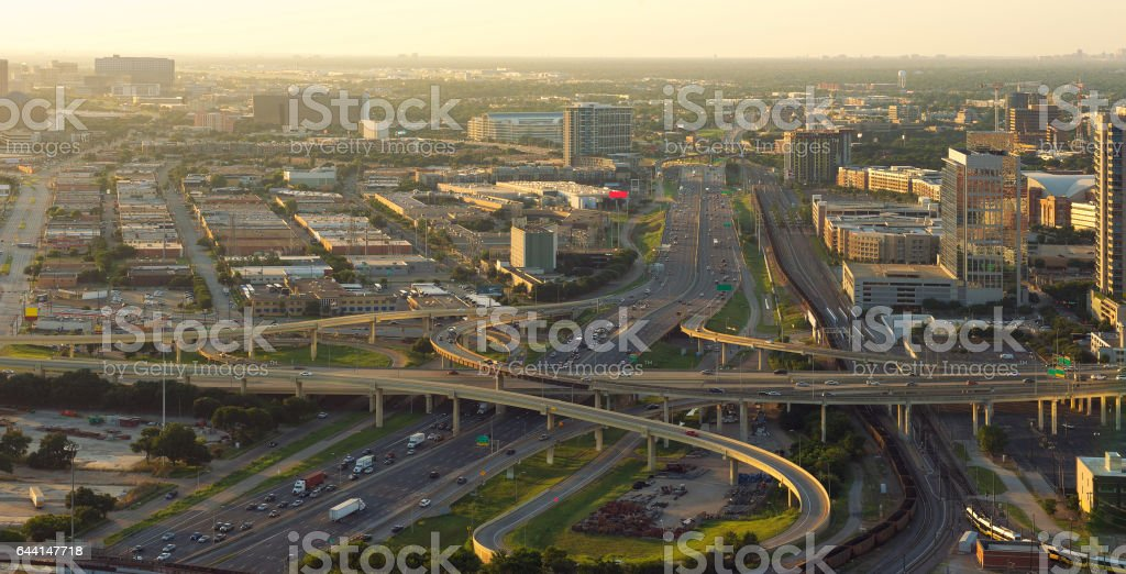 Skyline of Dallas, Highways, Texas, USA stock photo