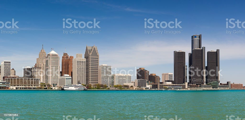 Skyline of Detroit by day stock photo