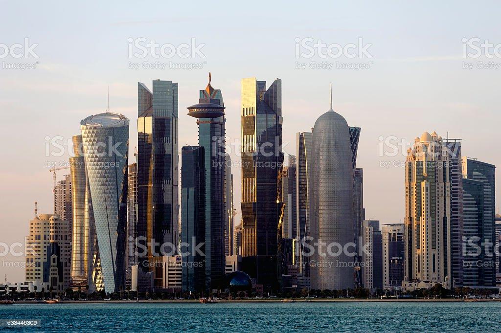 skyline of Doha 2015, at sunset stock photo