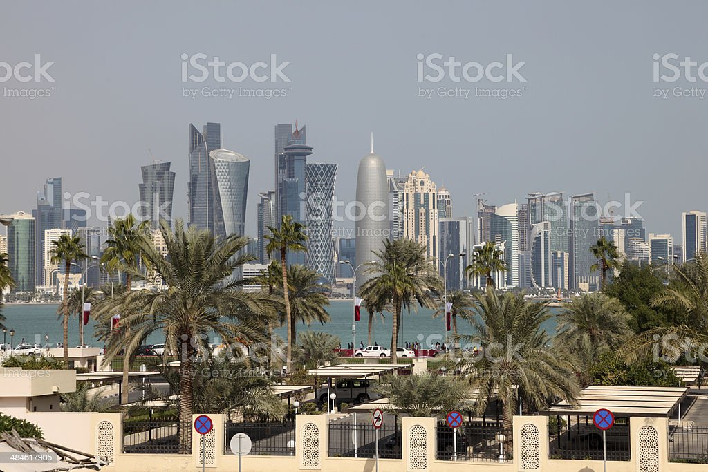 Skyline of Doha downtown. Qatar stock photo