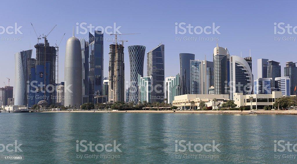 Skyline of Doha downttown stock photo