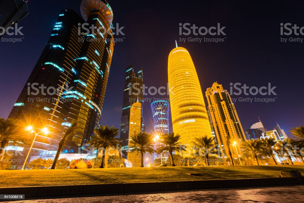 Skyline of Doha, Qatar at night stock photo