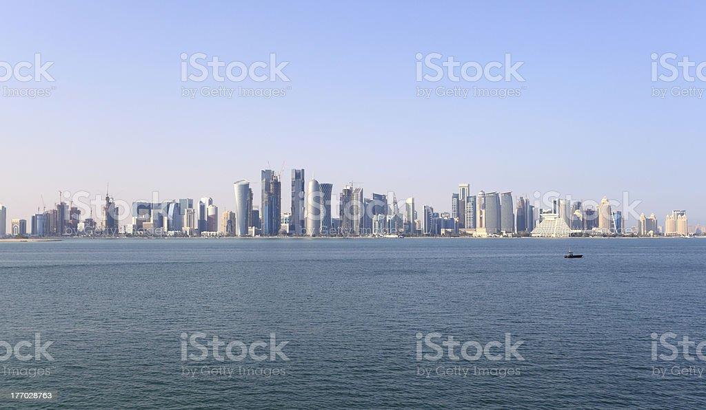 Skyline of Doha, Qatar stock photo