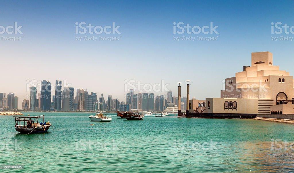 Skyline of Doha, Qatar. stock photo