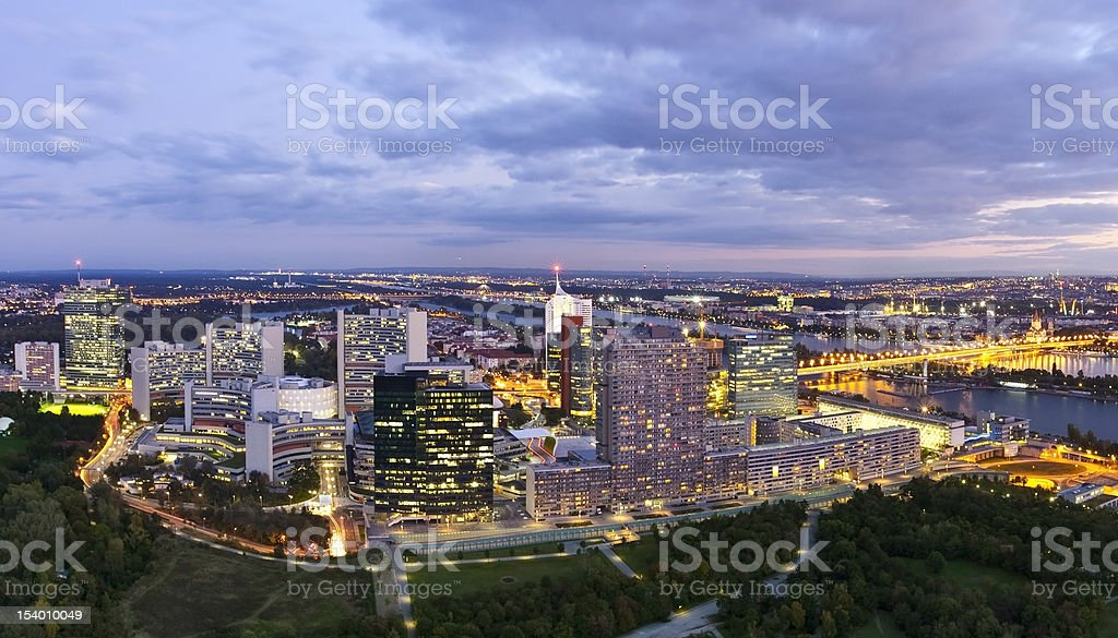 Skyline of Donau City Vienna at dusk royalty-free stock photo