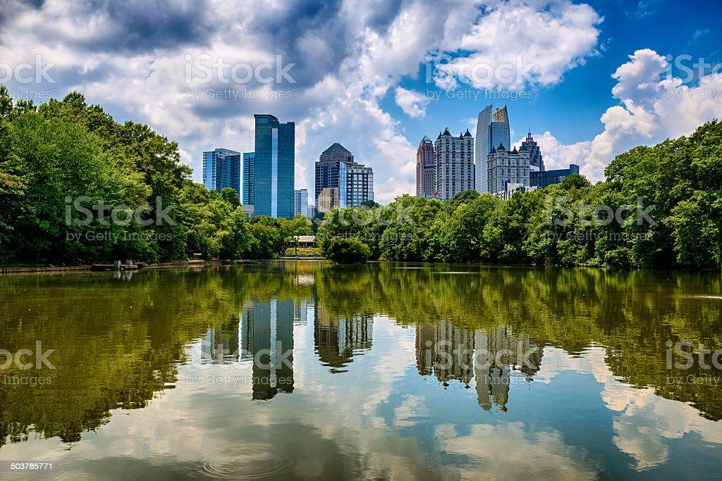 Skyline of downtown Atlanta  from Piedmont Park stock photo