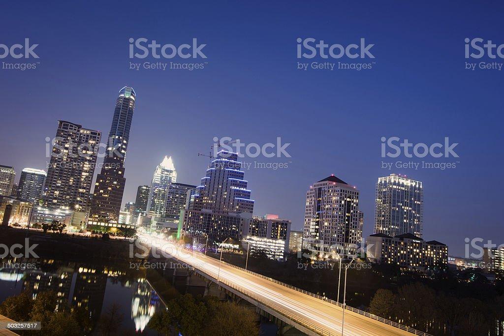 Skyline of downtown Austin, Texas at night royalty-free stock photo