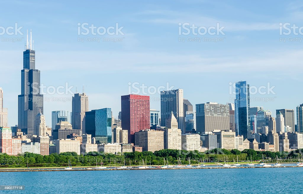 Skyline of downtown Chicago on a sunny morning in spring stock photo