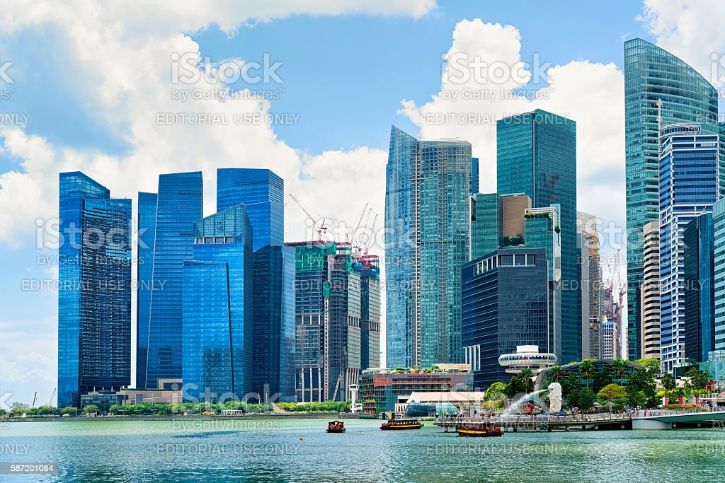 Skyline of Downtown Core at Marina Bay Financial Center Singapore stock photo