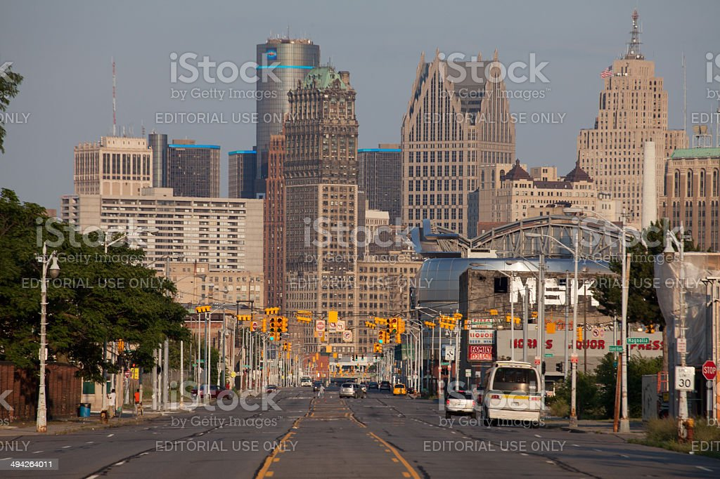 Skyline of downtown Detroit, Michigan stock photo