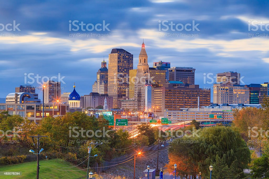 Skyline of downtown Hartford, Connecticut from above Charter Oak stock photo