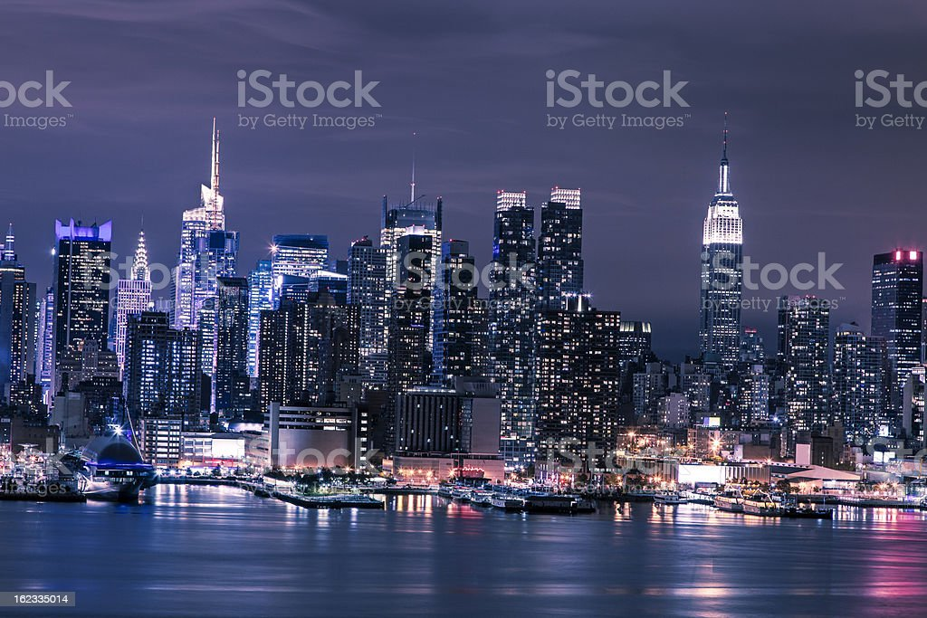 Skyline of downtown Manhattan royalty-free stock photo