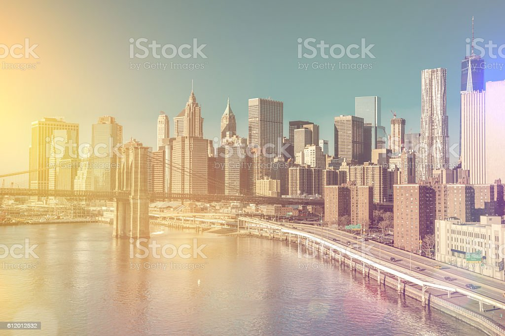 Skyline of downtown New York, Manhattan - vintage style stock photo