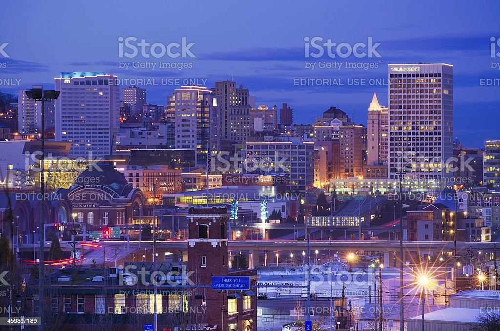 Skyline of downtown Tacoma, WA stock photo
