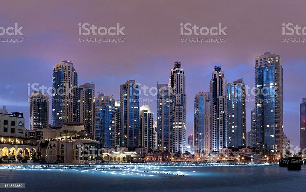 skyline of Dubai Downtown at sunrise royalty-free stock photo