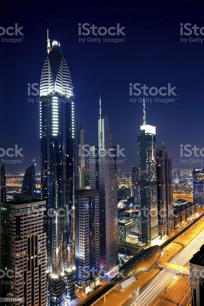 Skyline of Dubai Financial District royalty-free stock photo