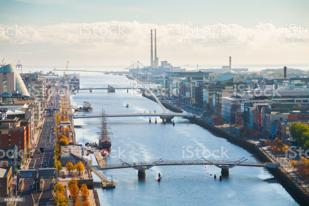 Skyline of Dublin City, Ireland stock photo