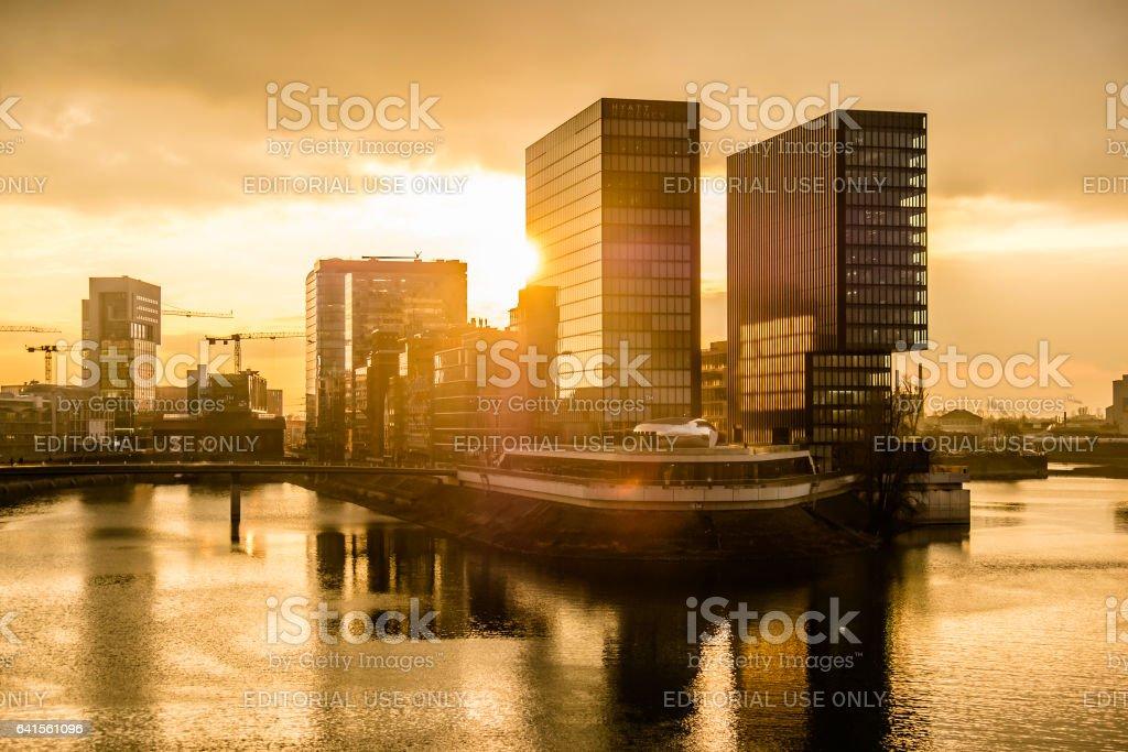 Skyline of Duesseldorf in Germany stock photo