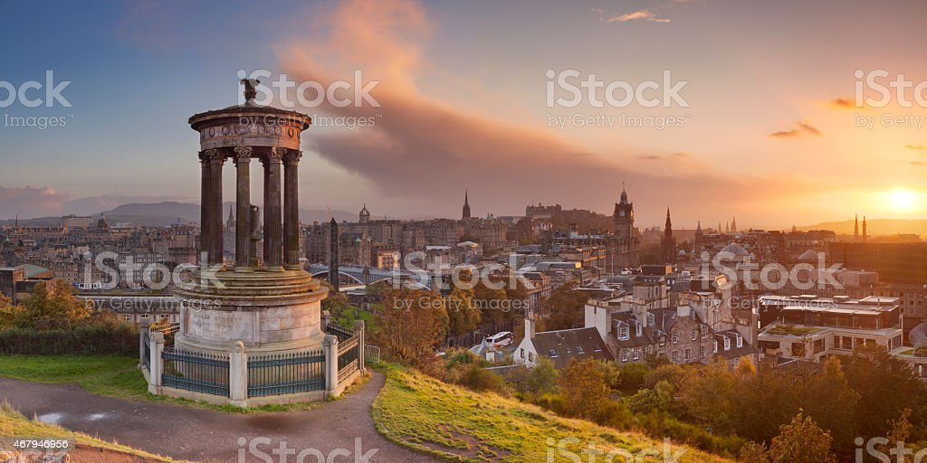 Skyline of Edinburgh, Scotland from Calton Hill at sunset stock photo