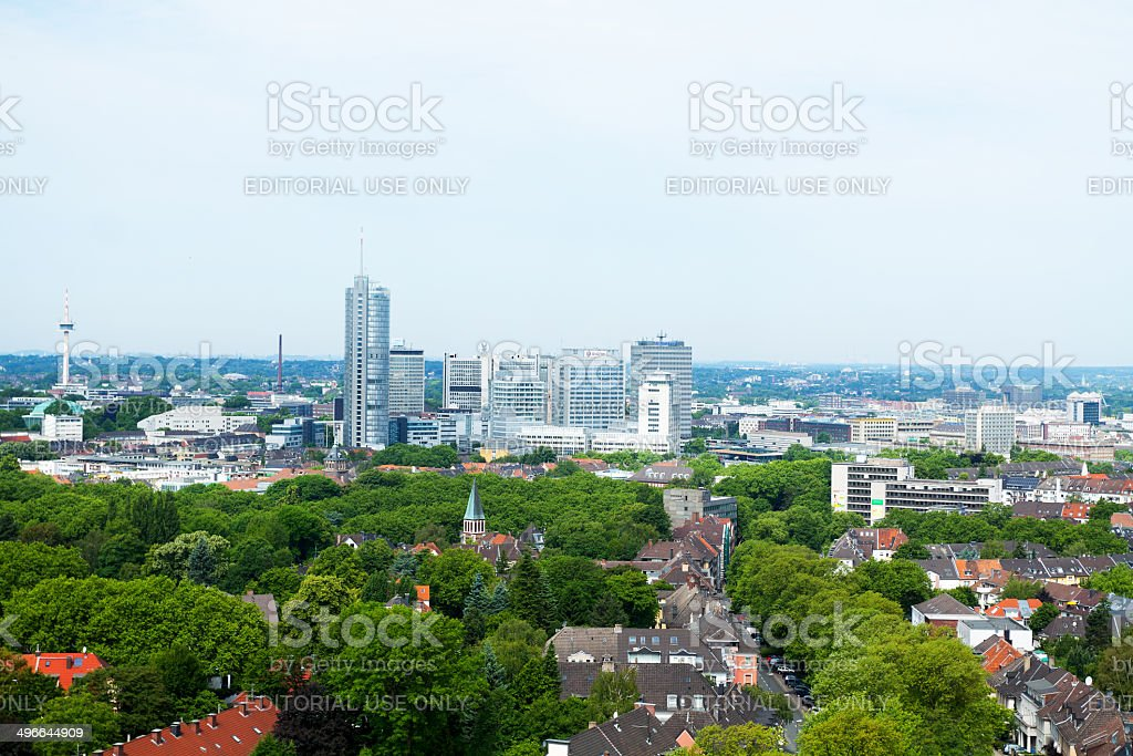 Skyline of Essen in Summer stock photo
