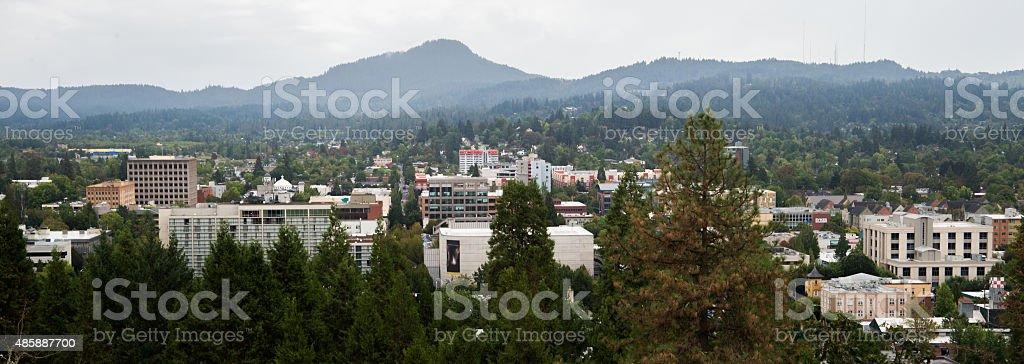 Skyline of Eugene Oregon stock photo