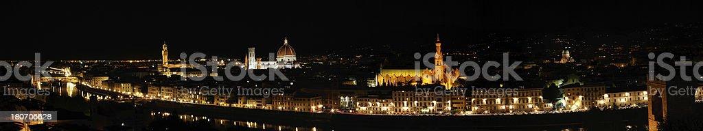 Skyline of Florence at Night stock photo