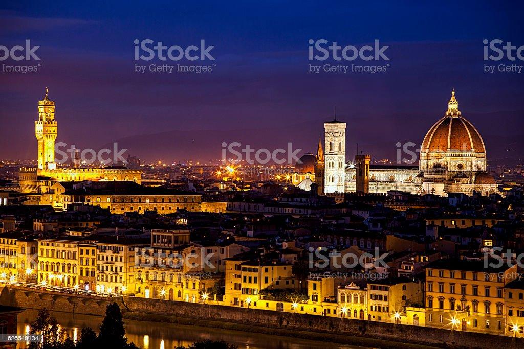 Skyline of Florence at Twilight stock photo