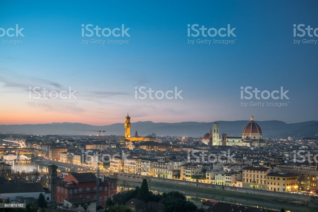 Skyline of Florence from the Piazzale Michelangelo stock photo