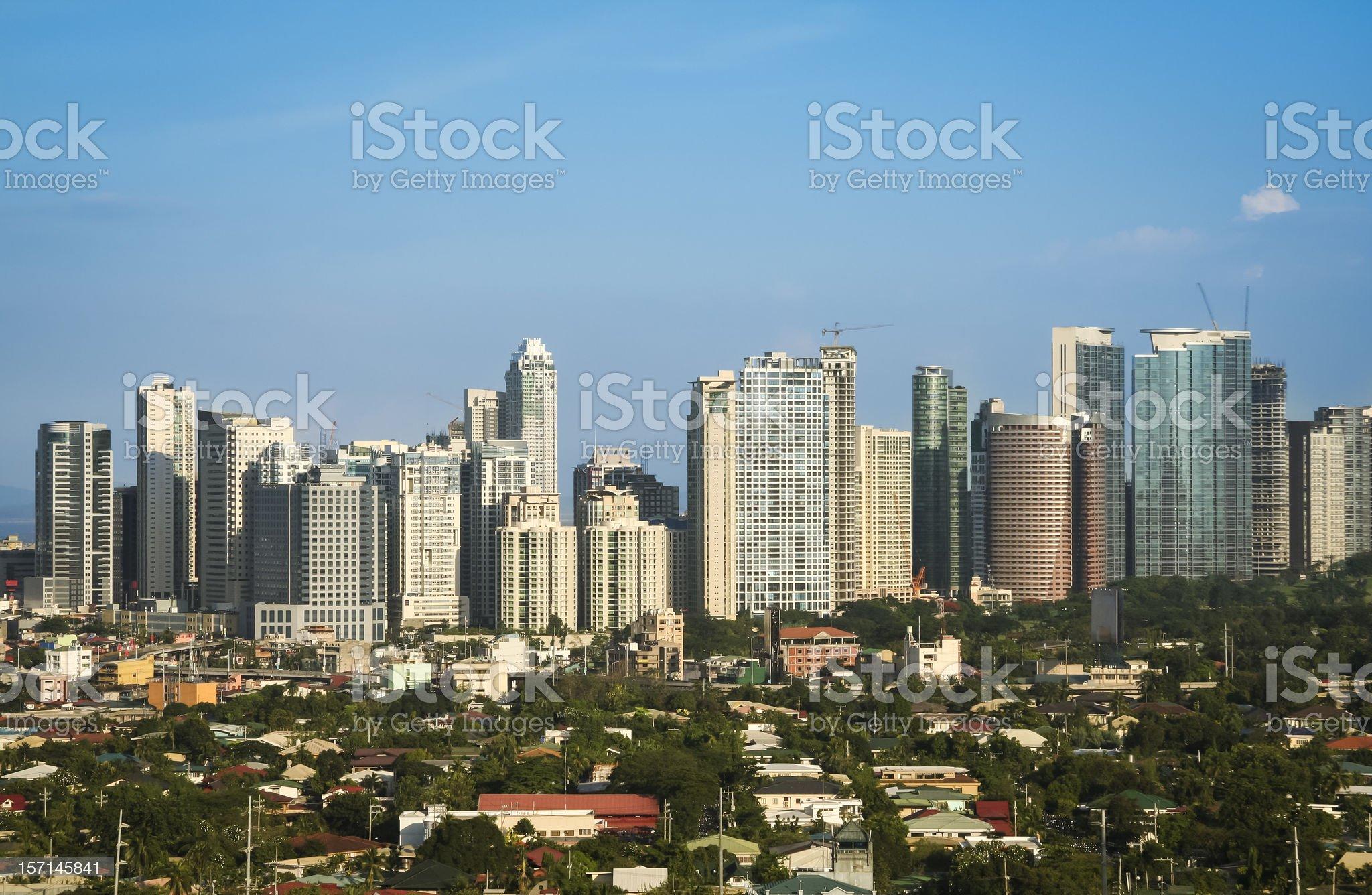 Skyline of Fort Bonifacio located in Makati City Philippines royalty-free stock photo