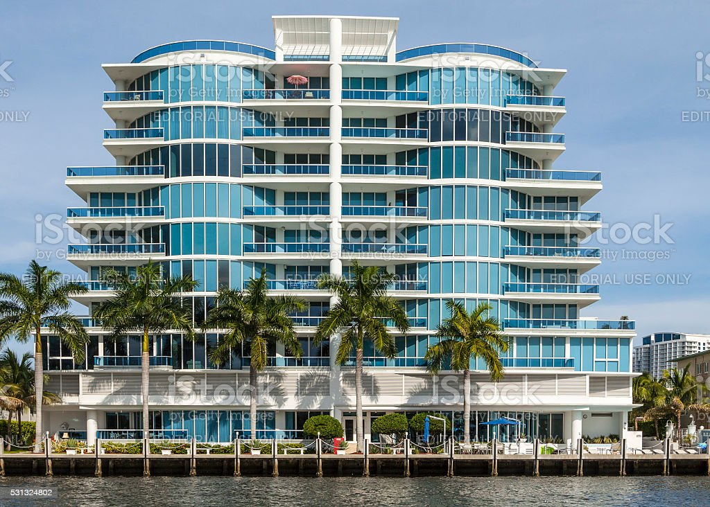 skyline of Fort Lauderdale from the canal stock photo