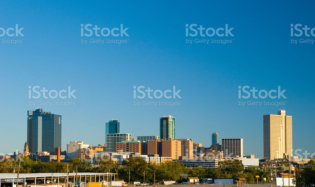 Skyline of Fort Worth Downtown against a clear blue sky stock photo